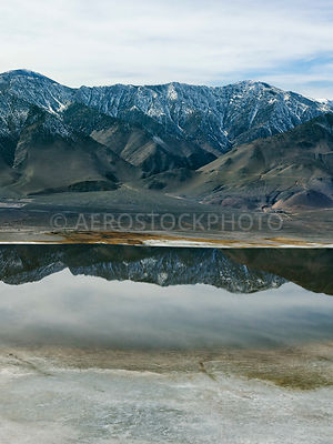 Owens Lake and the Sierra Nevada mountain Range, Inyo County, California,