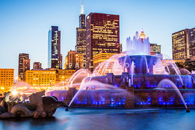 Chicago Skyline at Night with Buckingham Fountain