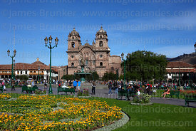 La Compañia de Jesus Jesuit church and flowers in Plaza de Armas, Cusco, Peru