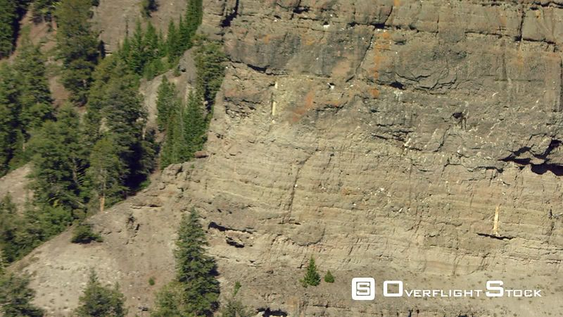 Steep cliffs and rugged terrain in the Gallatin mountain range near Yellowstone National Park
