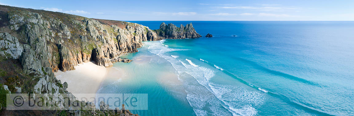Logan Rock and Pednvounder beach, at Porthcurno, Cornwall - BP2420