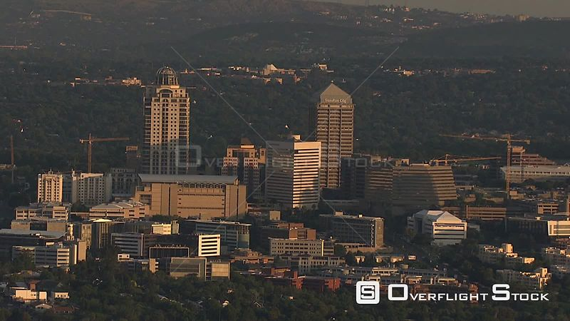 Aerial shot of the Sandton Central Business District in Johannesburg Johannesburg Gauteng South Africa