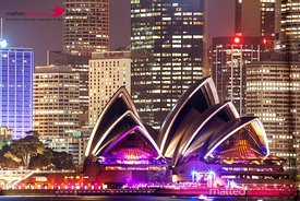Sydney skyline at night with Opera House, Australia