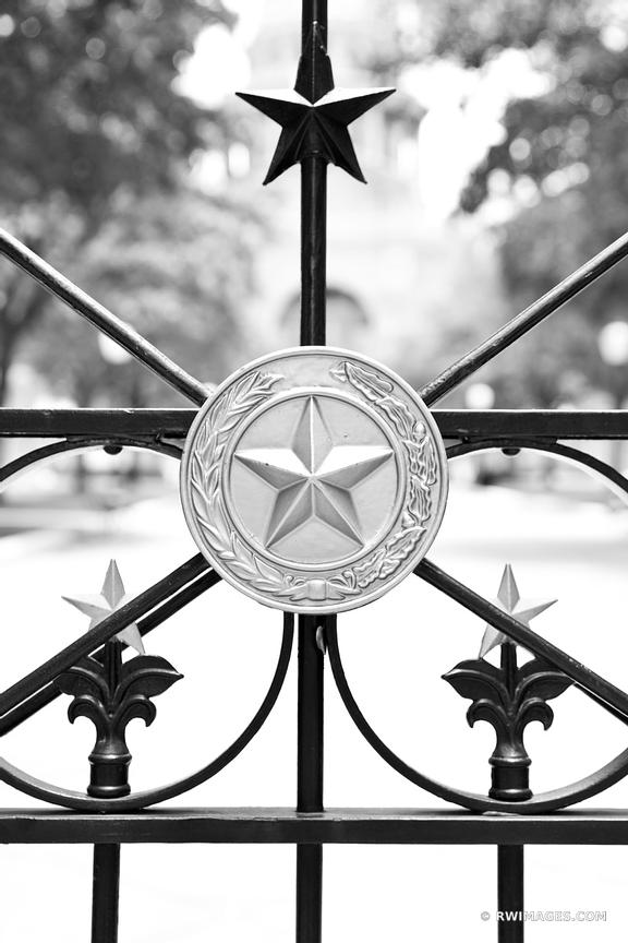 TEXAS LONE STAR IRON FENCE CAPITOL BUILDING AUSTIN TEXAS