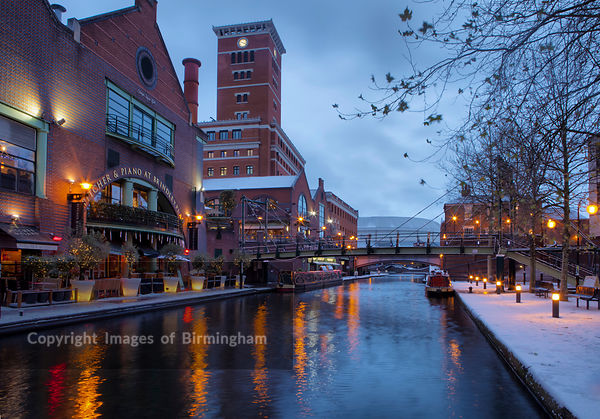 Brindleyplace during Winter, along the canals, Birmingham, West Midlands, England, UK