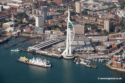 aerial photograph of the Spinnaker Tower in Portsmouth Hampshire England UK