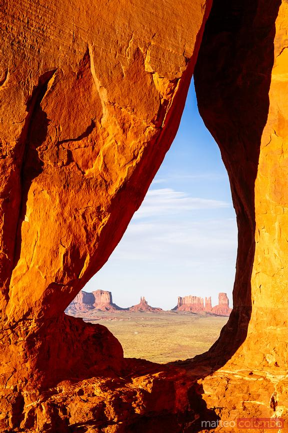 Sunset at Teardrop Arch, Monument Valley, USA