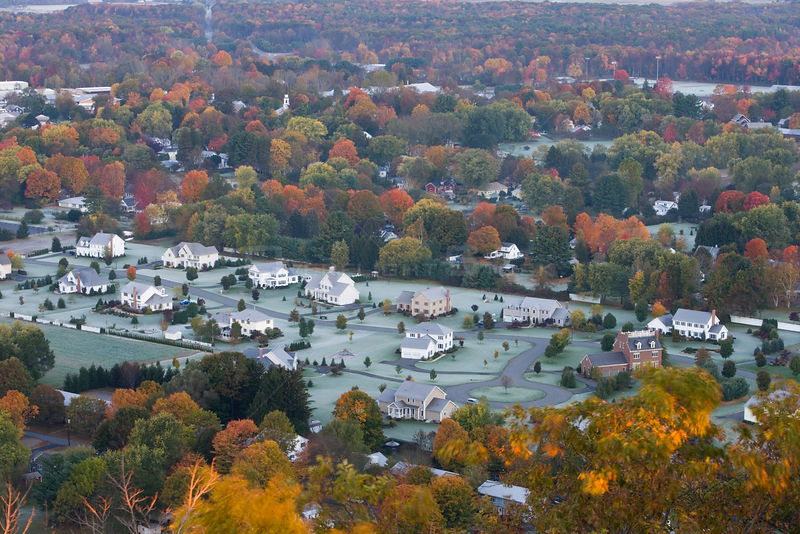 Aerial view of a subdivision in South Deerfield, Massachusetts, USA, as seen from South Sugarloaf Mountain in the Sugarloaf M...