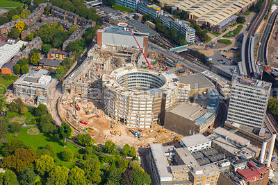 Aerial view of the redevelopment of the former BBC Televison Studios, London