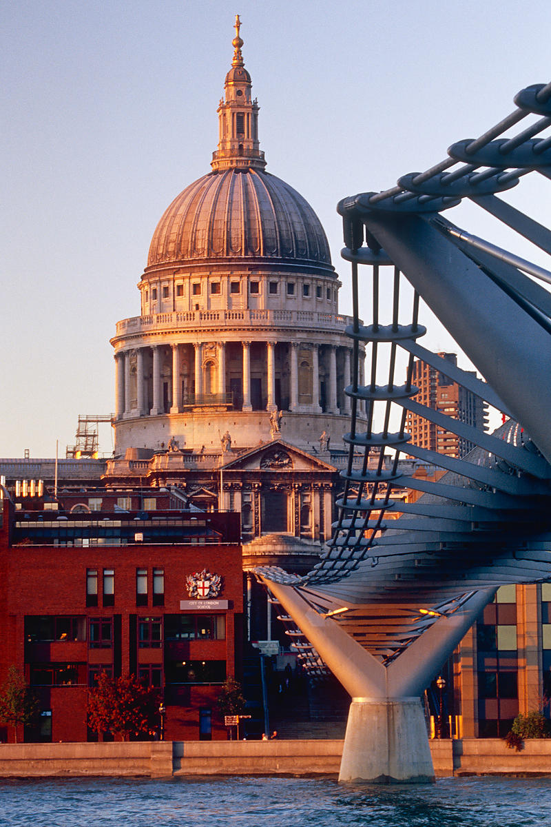 St Paul's Cathedral and Millennium Bridge London, England