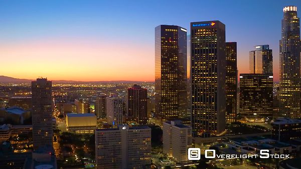 Downtown Los Angeles Aerial Night Buildings With Lights California