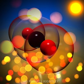 Carbon Dioxide Molecule with Photons and Sun #2