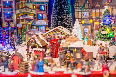 Closeup of models for sale at the White Magic Christmas Market