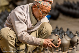 Old man with pots Bhaktapur.