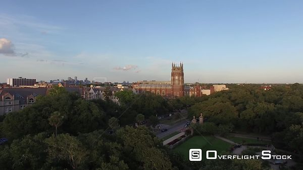Aerial View of Loyola University in New Orleans, Louisiana at dusk