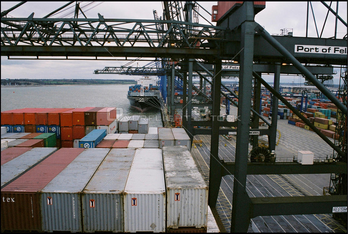 UK Felixstowe -- Jan 2004 -- Container ships wait for high winds to cease as so they can unload their cargo into the port