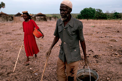 Asumpaheme and Anafo return from working the fields. Their canes guide them