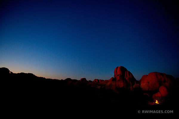 JUMBO ROCKS EVENING TWILIGHT JOSHUA TREE NATIONAL PARK COLOR