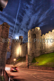 Conwy Castle & Speeding Car At Night