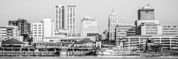Peoria Skyline Panorama Black and White Picture