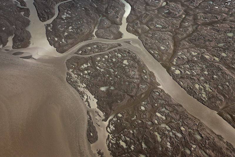 Tidal flats at low tide (aerial photo), Pacific Coast, Cook Inlet, Alaska, USA. June 2013.