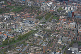 Manchester view of Princess road with Hulme bridge with the Birley Fields MMU University developments and social housing Arno...