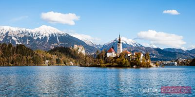 Bled lake and island in autumn, Slovenia