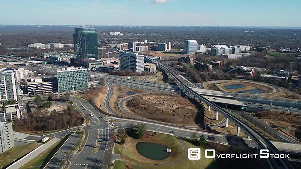 Tysons, Virginia, USA. Pan from right to left showing the Capital Beltway running through Tysons Corner.