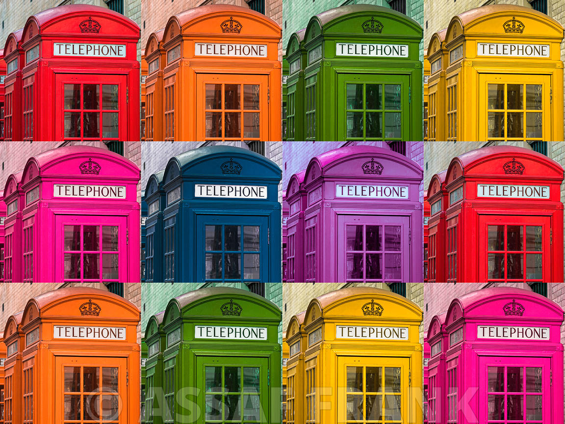 Muti coloured telephone boxes