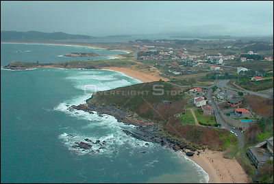 SPAIN Near Punta Faglida -- 15/12/2002 -- Aerial view of a polluted beach near Punta Faglida on the Galician coast. Thousands...
