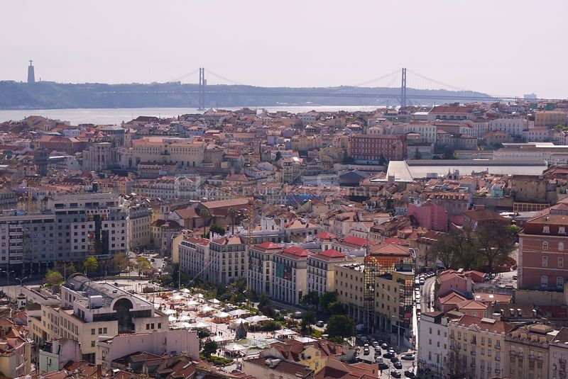 Aerial view of the 25 April bridge and central Lisbon Portugal