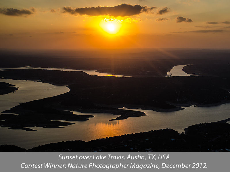 Sunset over Lake Travis, Austin, Texas (aerial view)