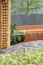 Bench, Contemporary garden, Grey, Pavement, Resting area, Stone, Digital