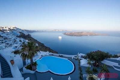 View of Santorini with cruise ship