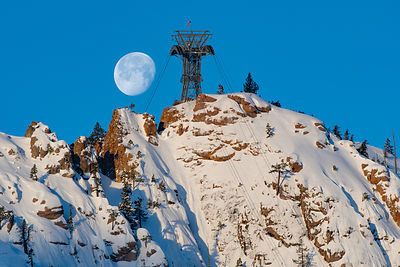 Squaw Valley USA. Moonrise.