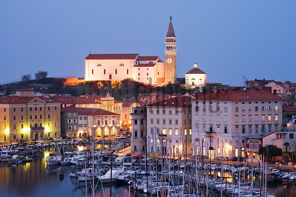 The Town and Harbour of Piran and St George's Church, Slovenia