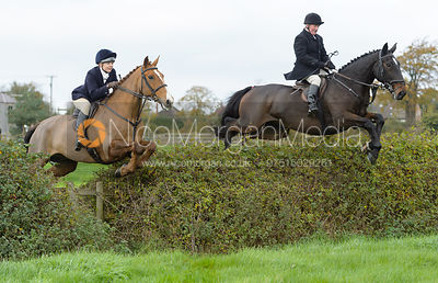 Sophie Pedlar, Mike Chatterton jumping a hedge near the meet in Long Clawson