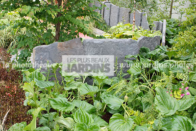 Contemporary garden, Shadow garden, Stone, Low wall stone, Digital