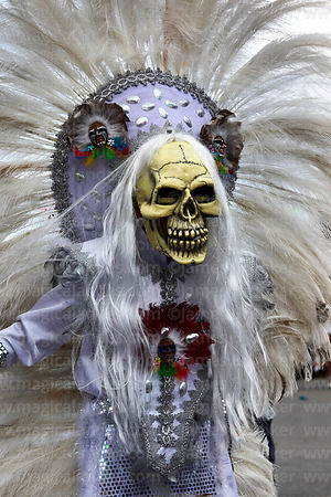 Tobas dancer wearing death's head skull mask, Oruro Carnival, Bolivia
