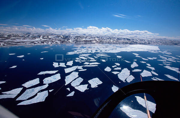 Ice floes seen from helicopter, Lancaster Sound, Canadian Arctic, June 2000
