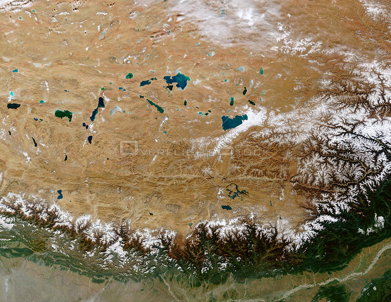 EARTH Great Himalayan Range / Tibetan Plateau -- 27 Oct 2002 -- The Himalayan Mountain Range runs a curving path from west to...
