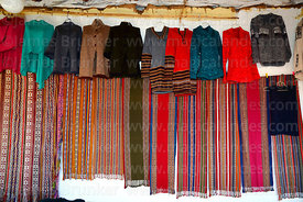 Detail of textiles for sale in shop in Chinchero, Sacred Valley, Peru