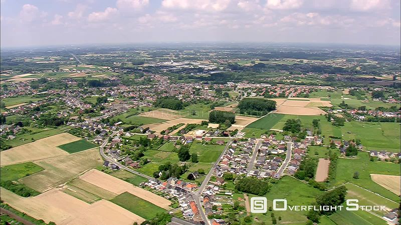 Flying over fields and villages in Flanders, Belgium