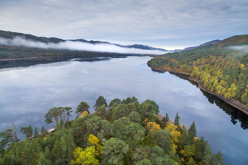 Autumn colours and mist over Loch Beinn a Mheadhoin, Glen Affric National Nature Reserve, Scotland, UK, October 2016.