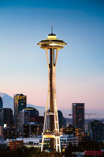 The Space Needle and skyline at dawn, Seattle, USA