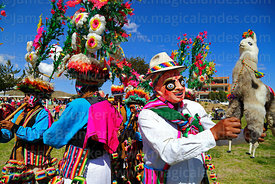 Masked dancer with toy llama accompanying mucululus dance group at festival in Compi Tauca, La Paz Department, Bolivia
