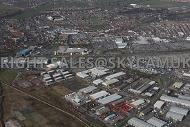Widnes high level aerial photograph looking across old disused industrial land towards Dennis road and Fiddlers Ferry road to...
