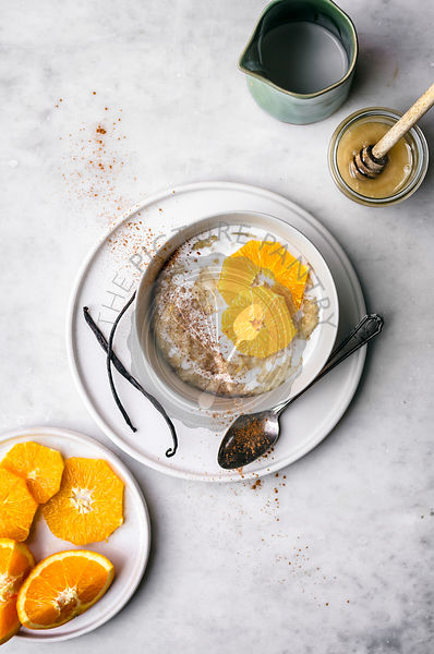 Orange Vanilla Rice Pudding with Coconut Milk