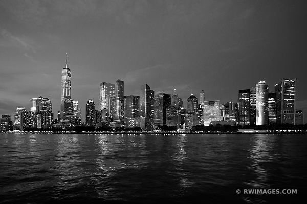 MANHATTAN SKYLINE NIGHT CITY LIGHTS FREEDOM TOWER NEW YORK CITY NEW YORK BLACK AND WHITE