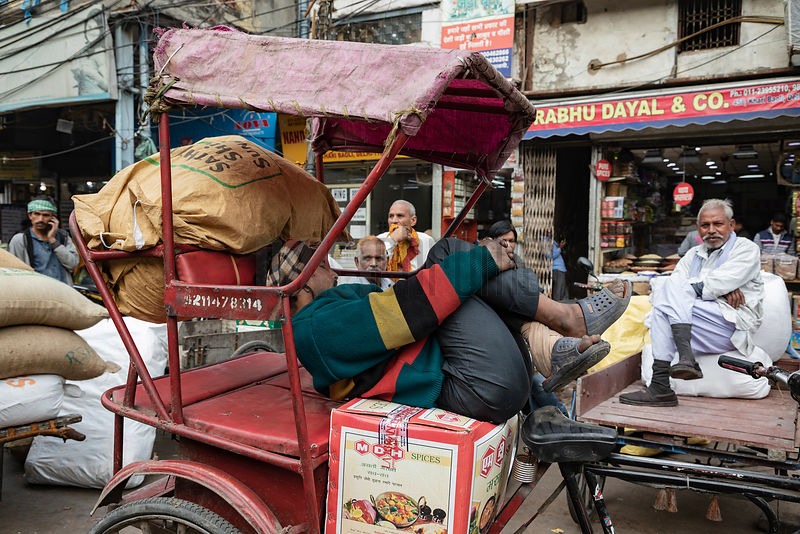 A Rickshaw Wallah Takes a Rest in Chandni Chowk Market